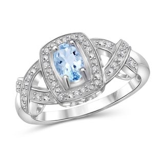 Jewelonfire Sterling Silver 5/8ct TW Sky Blue Topaz and Diamond Accent Ring