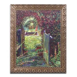 David Lloyd Glover 'Wicket Garden Gate' Ornate Framed Art