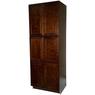 Everyday Cabinets 24-inch Cherry Mahogany Leo Saddle Pantry/Utility Kitchen Cabinet