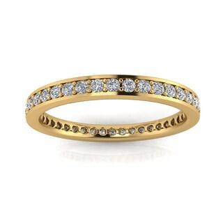 Estie G. 14k Yellow Gold 5/8-4/5ct TDW Diamond Channel Set Eternity Ring (J-K, SI1-SI2)