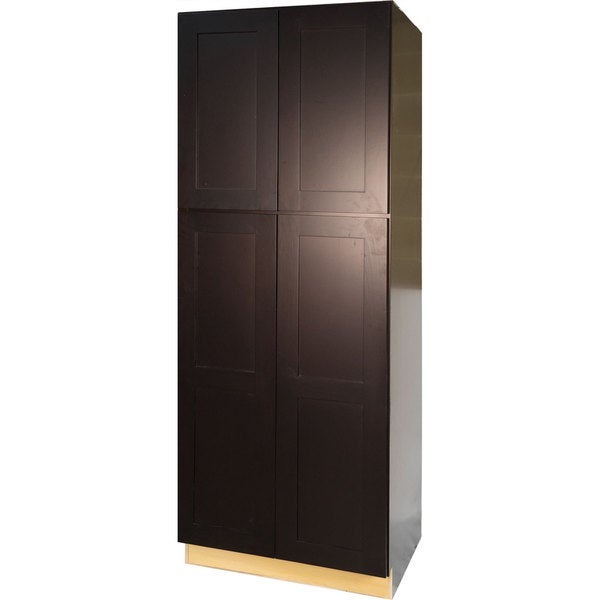 Everyday Cabinets Dark Espresso 30 Inch Shaker Pantry Utility Kitchen Cabinet Free Shipping