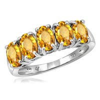 Jewelonfire Sterling Silver 2 1/3ct TW Citrine 5-stone Ring