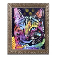 Dean Russo 'Thoughtful Cat' Ornate Framed Art