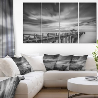 Black and White Wooden Bridge and Sky - Sea Pier Wall Art Canvas Print