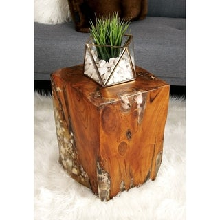 Teak Shell Resin Stool 12-inch W, 16-inch H