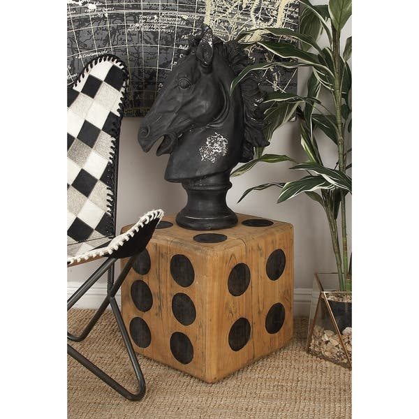 Shop Eclectic 15 Inch Teak Wood Dice Stool By Studio 350