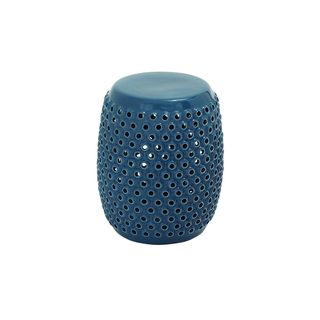 14-inch Wide x 18-inch High Blue Ceramic Stool