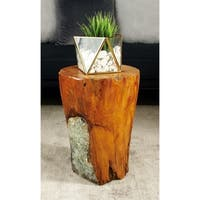 Natural 16 x 12 Inch Teak Wood and Resin Round Stool by Studio 350 - N/A