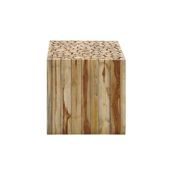 Teak Wood 18 Inch High X 18 Inch Wide Square Stool Free