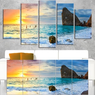 Vibrant Morning Sea with Yellow Sun - Seashore Canvas Wall Art