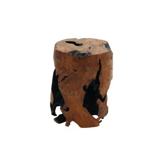 Natural Teak Wood 14-inch x 18-inch Round Stool