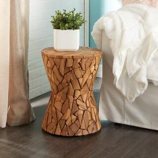Rustic 15 x 17 Inch Teak Wood Pedestal Stool by Studio 350