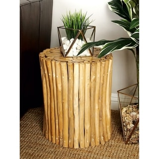 Brown 16-inch High x 14-inch Wide Teak Wood Foot Stool