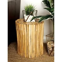 Rustic 16 Inch Teal Wood Stump Cylinder Footstool by Studio 350