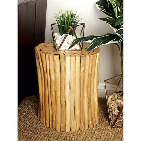 Brown 16-inch High x 14-inch Wide Teak Wood Foot Stool