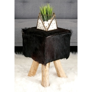 12-inch Wide x 18-inch High Wood and Leather Hide Stool