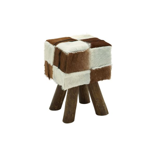 Wood And Leather Hide 18 Inch High X 12 Inch Wide Stool