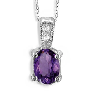 Jewelonfire Sterling Silver 7/8ct TW Amethyst and Diamond Accent Pendant