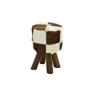 Wood/Leather Hide 18-inches High x 12-inches Wide Stool