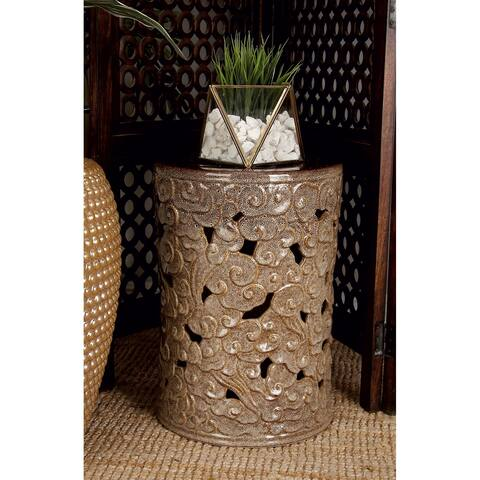 Brown Ceramic 18-inch High x 13-inch Wide Stool