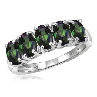 Jewelonfire Sterling Silver 2 1/3ct TW Mystic Topaz 5-stone Ring
