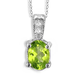 Jewelonfire Sterling Silver 7/8ct TW Peridot and Diamond Accent Pendant