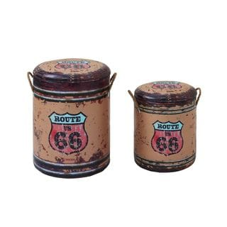 Iron 'Route 66' 13, 17-inches High Storage Stools (Set of 2)
