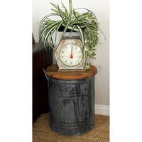 Rustic 20 X 16 Inch Tin and Mahogany Wood Drum Stool by Studio 350