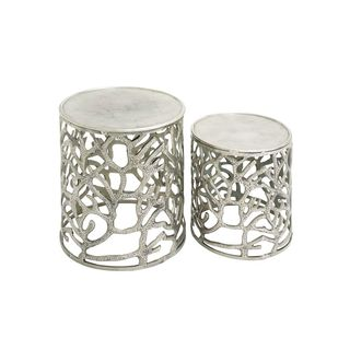 Silver Aluminum 20-inch and 16-inch Stools (Set of 2)