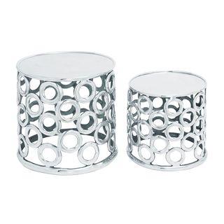 Metallic Silver Aluminum Stool (Set of 2)