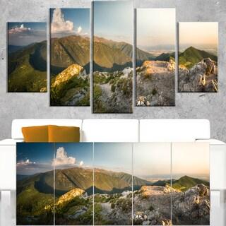 Rocky Green Mountains Panorama - Landscape Wall Art Canvas Print - Blue