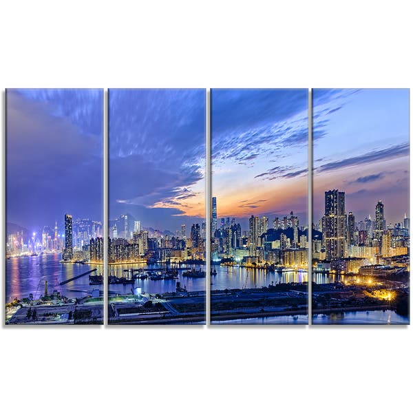 Hong Kong City Sunset Panorama Cityscape Artwork Print On Canvas Multi Color On Sale Overstock 12303716