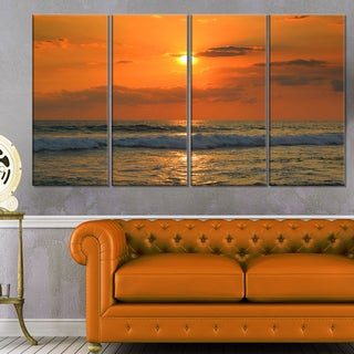 Orange Tinged Tropical Sunset and Waves - Beach Canvas Wall Art