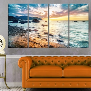 Summer Sea with Mountains and Waves - Contemporary Seascape Art Canvas