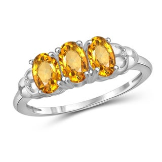 Jewelonfire Sterling Silver 1 2/5ct TW Citrine and Diamond Accent 3-stone Ring