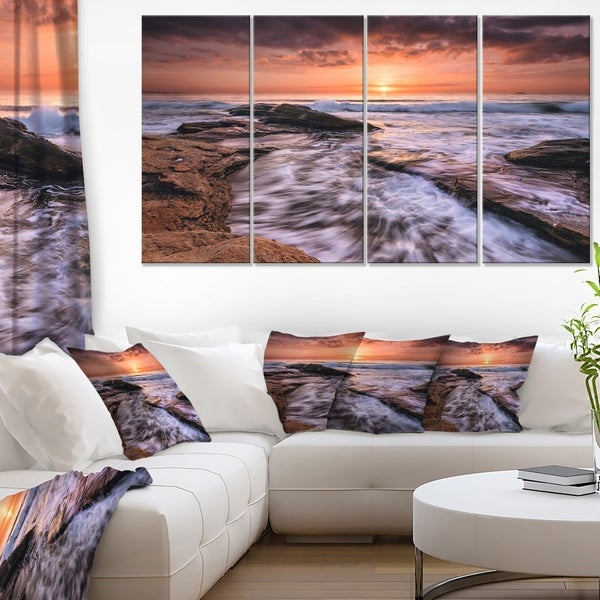 Waves Hitting Rocky Beach Burgas Bay Contemporary Seascape Art Canvas