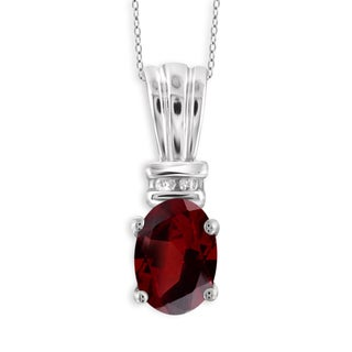 Jewelonfire Sterling Silver 1ct TW Garnet and Diamond Accent Pendant