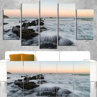 Bay of Biscay White Waves Hitting Beach - Contemporary Seascape Art Canvas