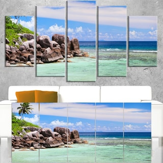 Beautiful Seychelles Rocky Coast - Landscape Wall Art Canvas Print