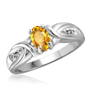 Jewelonfire Sterling Silver 1/2ct TW Citrine and Diamond Accent Ring