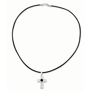 Handmade Men's Onyx Sterling Silver Leather 'My Protector' Cross Necklace (Mexico)