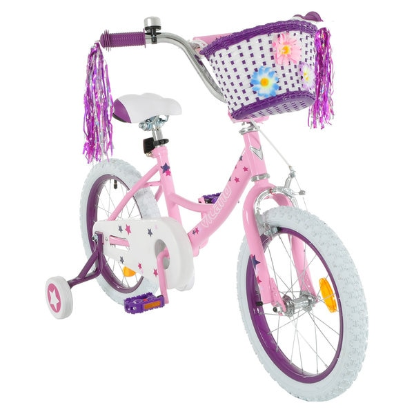 Vilano Girl's 14-inch Bike with Training Wheels and Basket