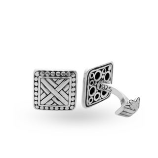 Handmade Antiqued Sterling Silver Raised X Square Cuff Links (Indonesia)