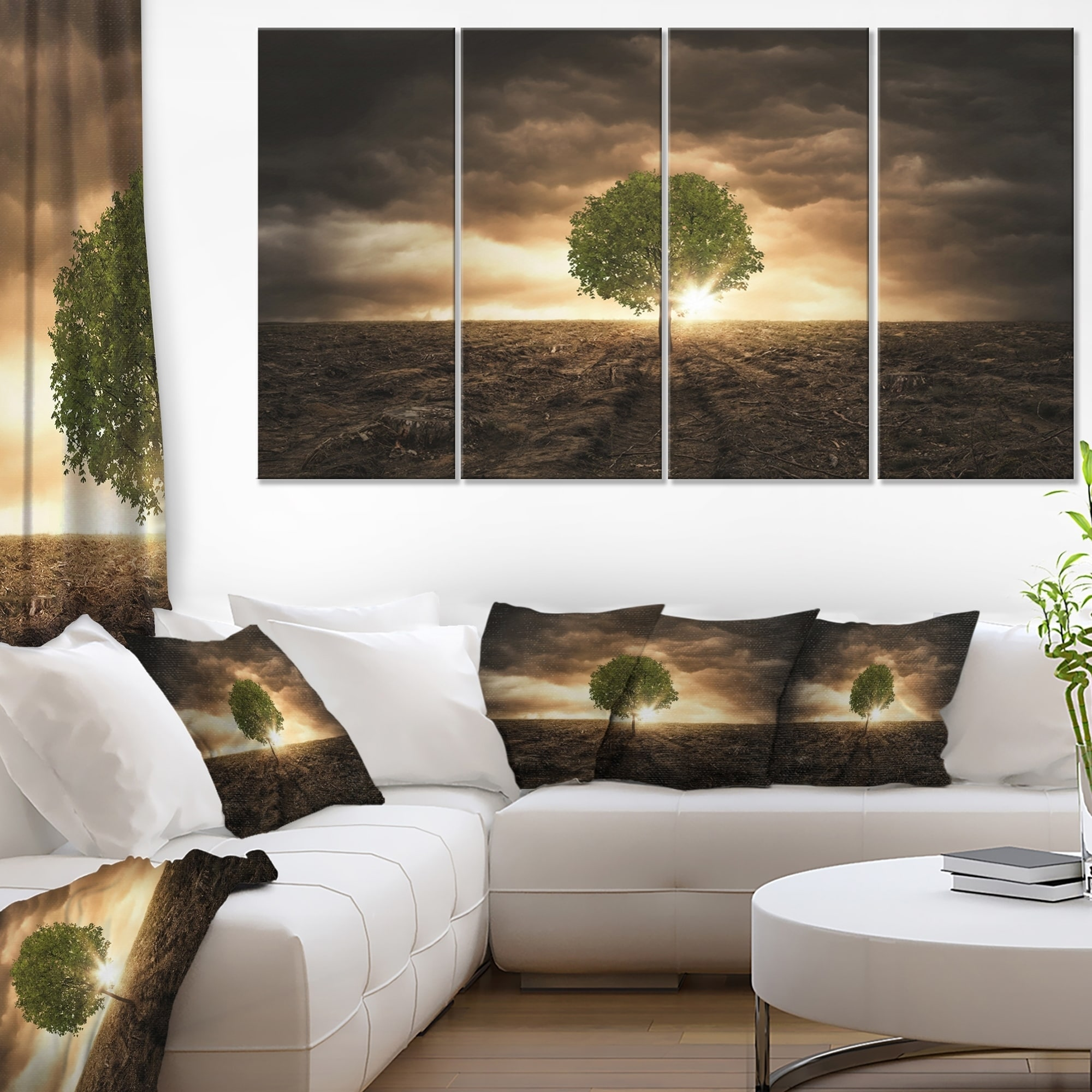 Lonely Tree Under Dramatic Sky Extra Large Wall Art Landscape Multi Color On Sale Overstock 12303856
