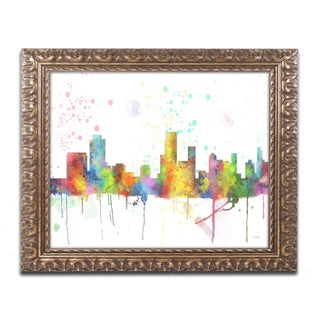 Marlene Watson 'Newark New Jersey Skyline Mclr-1' Ornate Framed Art