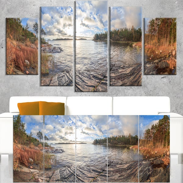 Rocky Coast of Autumn Lake - Extra Large Seashore Canvas Art - Multi-color
