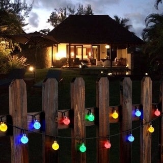 fairy lights white crystal ball solar powered 30 light led outdoor garden fence path landscape. Black Bedroom Furniture Sets. Home Design Ideas