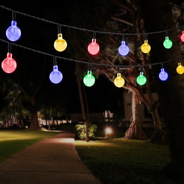 Solar Outdoor String Lights 30 LED Multi Color Four Color Crystal Ball  Solar Powered