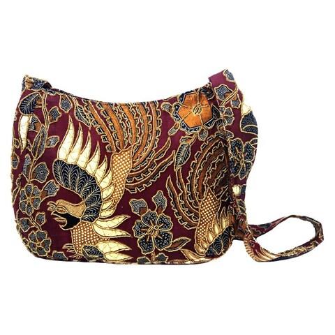 Handmade Beaded Cotton Batik 'King's Bird' Shoulder Bag (Indonesia)