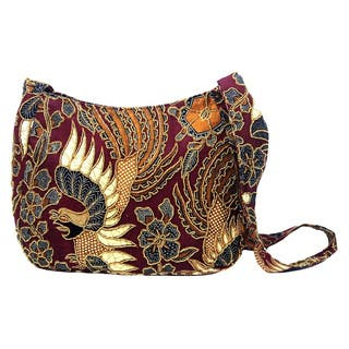 Handmade Beaded Cotton Batik 'King's Bird' Shoulder Bag (Indonesia)|https://ak1.ostkcdn.com/images/products/12303889/P19139123.jpg?impolicy=medium
